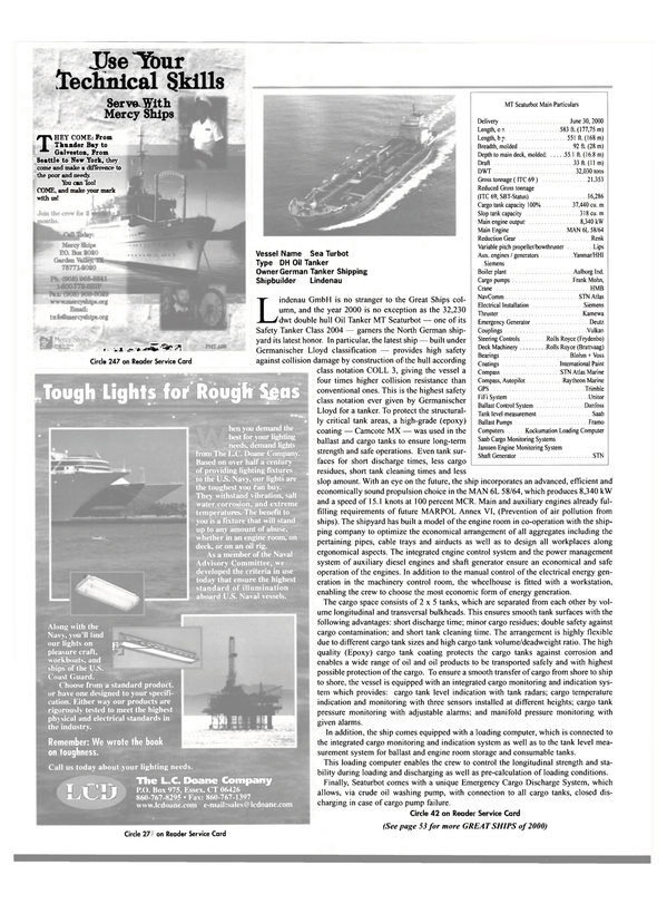 Maritime Reporter Magazine, page 39,  Dec 2000 Mercy Ships