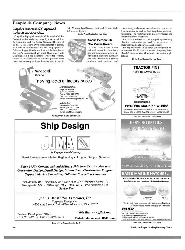 Maritime Reporter Magazine, page 47,  Dec 2000 Virginia