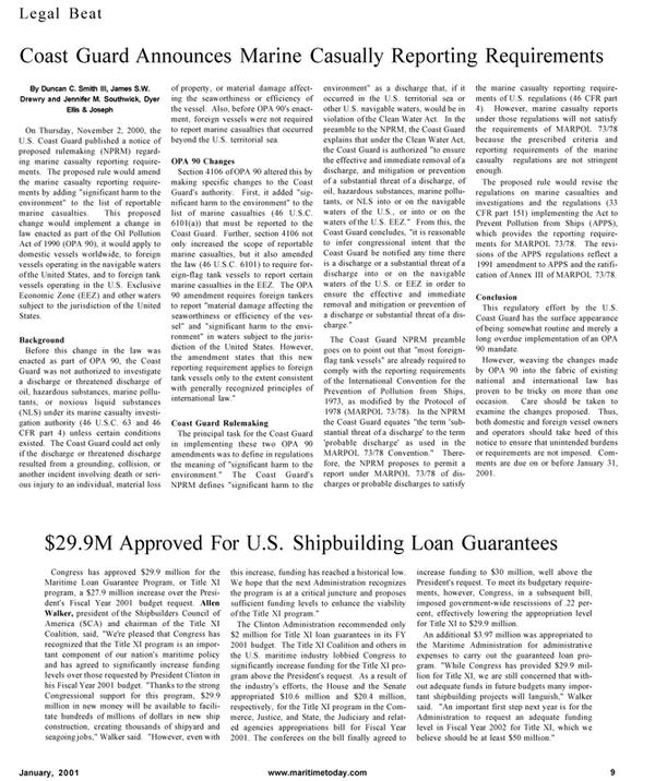 Maritime Reporter Magazine, page 9,  Jan 2001
