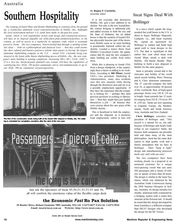 Maritime Reporter Magazine, page 10,  Jan 2001 Bill Pfister
