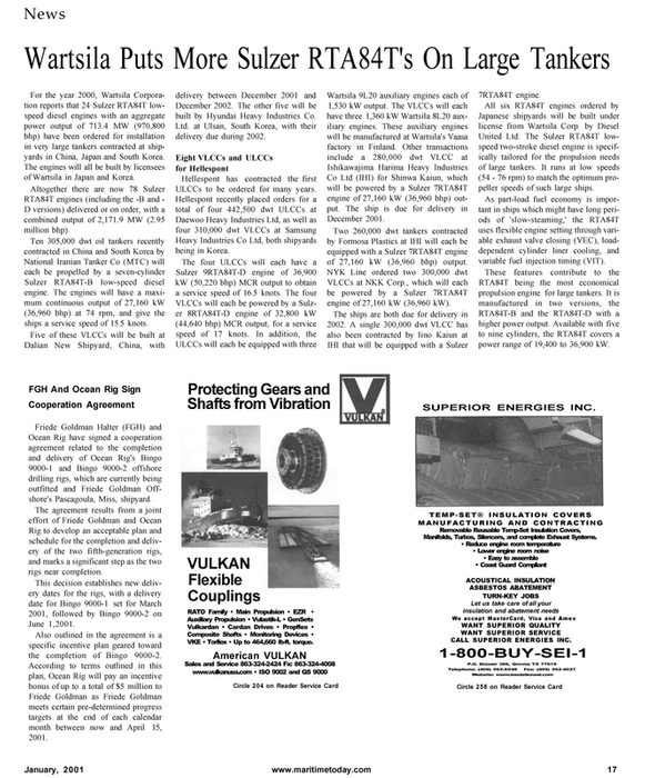 Maritime Reporter Magazine, page 17,  Jan 2001 dwt oil tankers