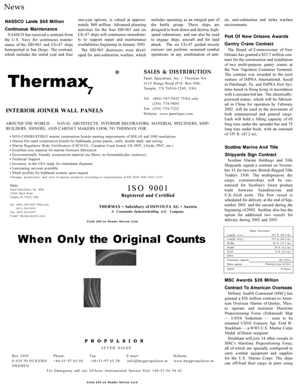 Maritime Reporter Magazine, page 18,  Jan 2001 Louisiana