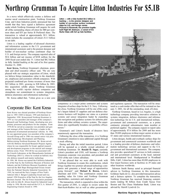 Maritime Reporter Magazine, page 20,  Jan 2001 reentry technology