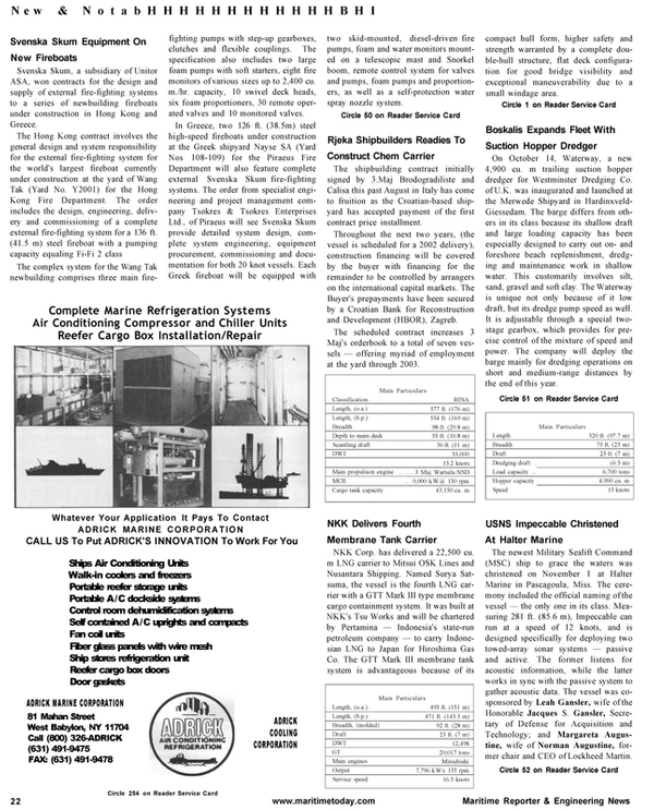 Maritime Reporter Magazine, page 22,  Jan 2001 Leah Gansler