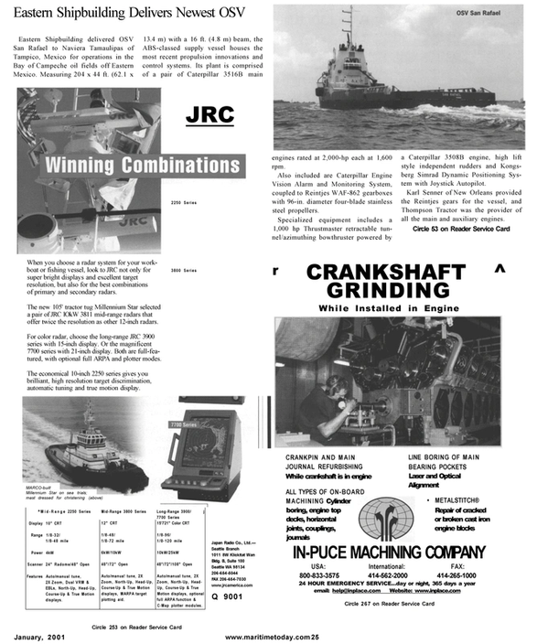 Maritime Reporter Magazine, page 23,  Jan 2001