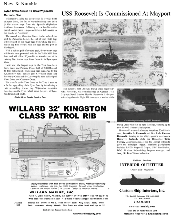 Maritime Reporter Magazine, page 24,  Jan 2001 Maryland
