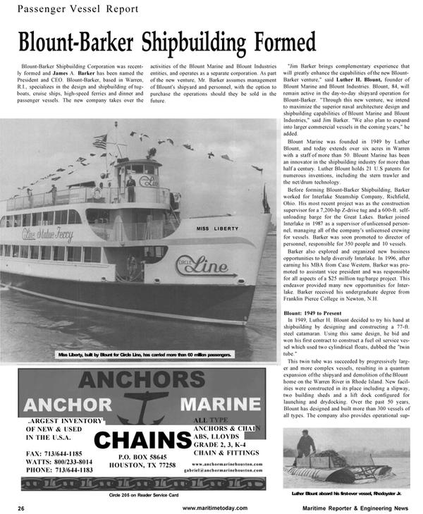 Maritime Reporter Magazine, page 26,  Jan 2001