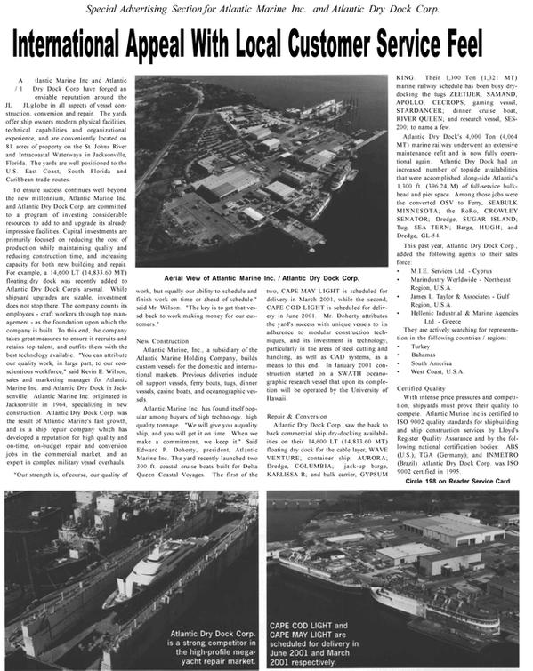 Maritime Reporter Magazine, page 33,  Jan 2001 South Florida