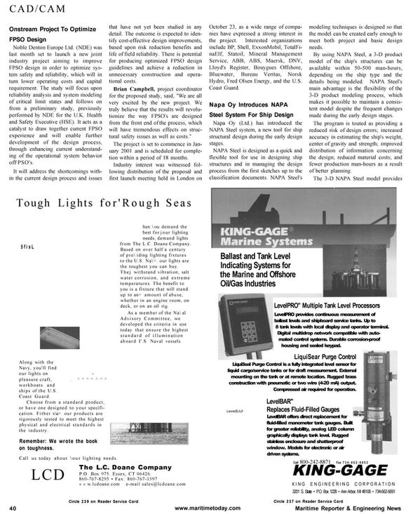 Maritime Reporter Magazine, page 40,  Jan 2001