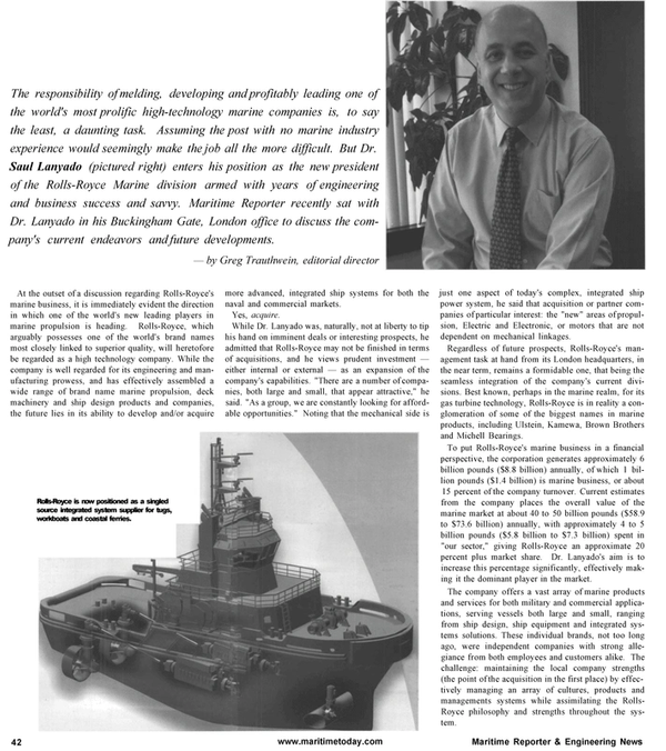 Maritime Reporter Magazine, page 42,  Jan 2001 Michell Bearings