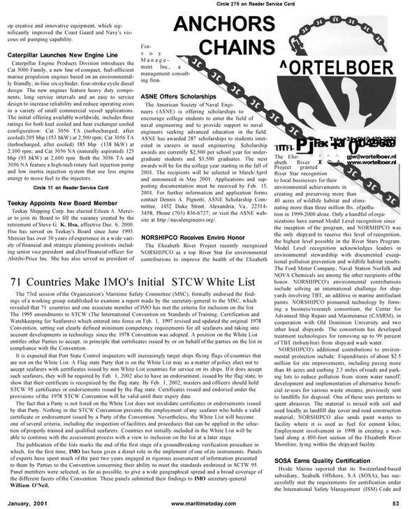 Maritime Reporter Magazine, page 53,  Jan 2001 Dennis A. Pignotti