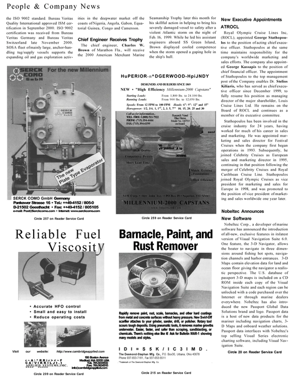 Maritime Reporter Magazine, page 54,  Jan 2001