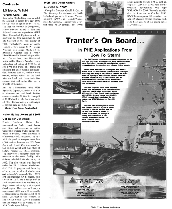 Maritime Reporter Magazine, page 55,  Jan 2001