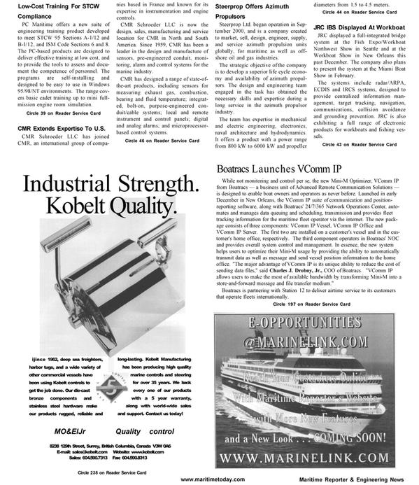 Maritime Reporter Magazine, page 58,  Jan 2001 North America