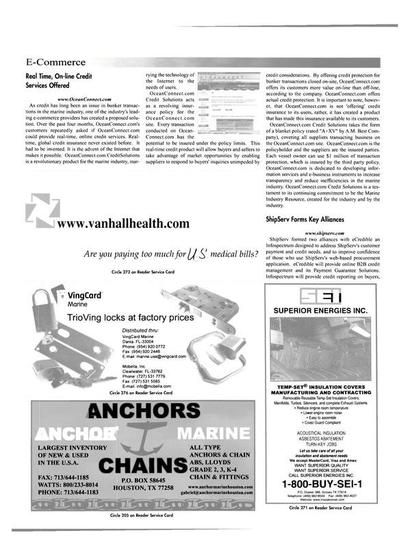 Maritime Reporter Magazine, page 14,  Feb 2001 web-based procurement application