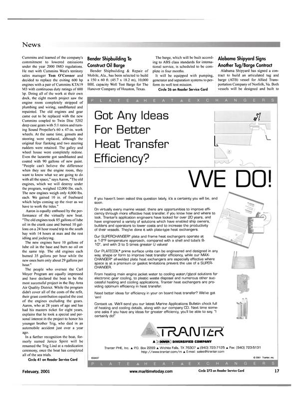 Maritime Reporter Magazine, page 17,  Feb 2001