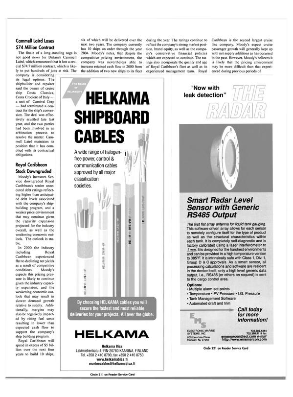 Maritime Reporter Magazine, page 25,  Feb 2001 Italy