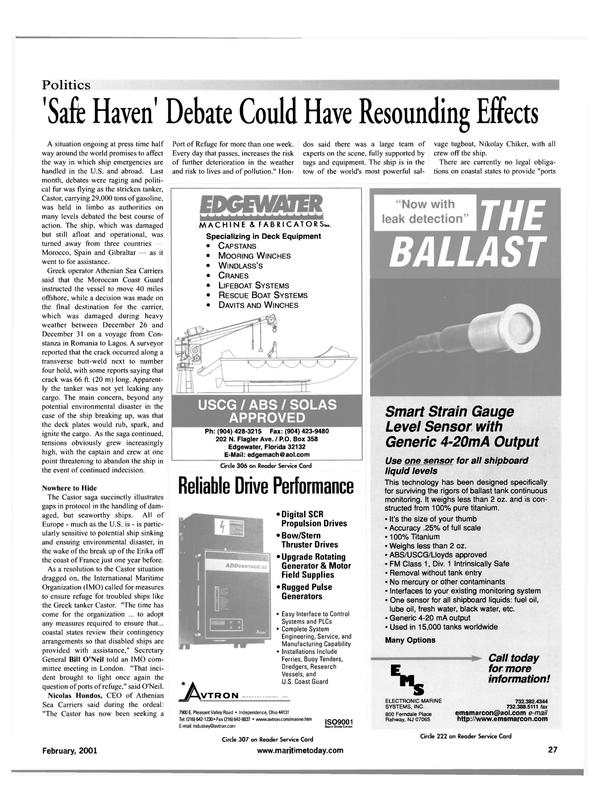 Maritime Reporter Magazine, page 27,  Feb 2001 VT RON