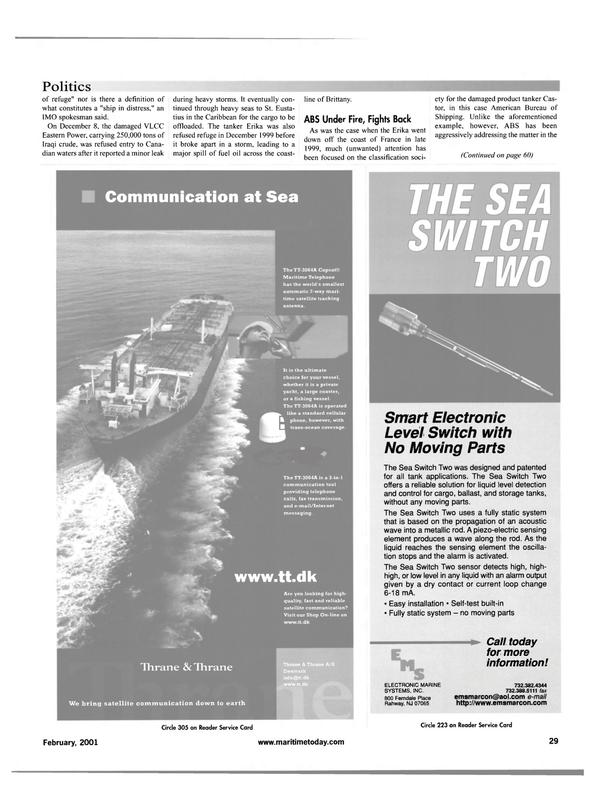Maritime Reporter Magazine, page 29,  Feb 2001