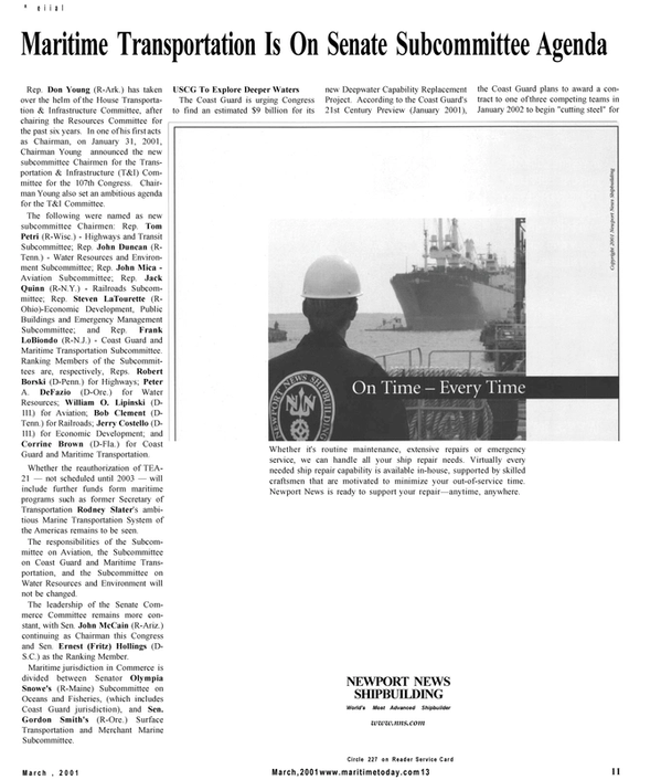 Maritime Reporter Magazine, page 11,  Mar 2001