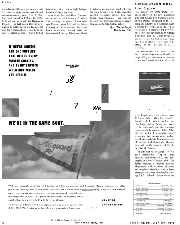 Maritime Reporter Magazine, page 12,  Mar 2001