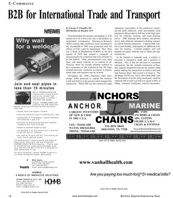 Maritime Reporter Magazine, page 16,  Mar 2001 Supply W&O Supply Engineered Products Division