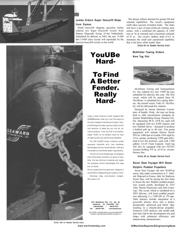 Maritime Reporter Magazine, page 18,  Mar 2001