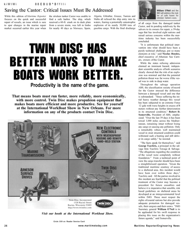 Maritime Reporter Magazine, page 26,  Mar 2001