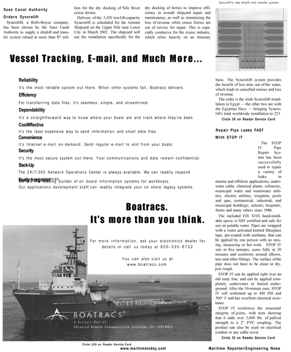 Maritime Reporter Magazine, page 32,  Mar 2001 Network Operations Center