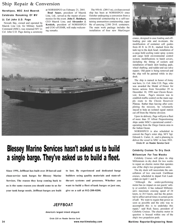 Maritime Reporter Magazine, page 34,  Mar 2001