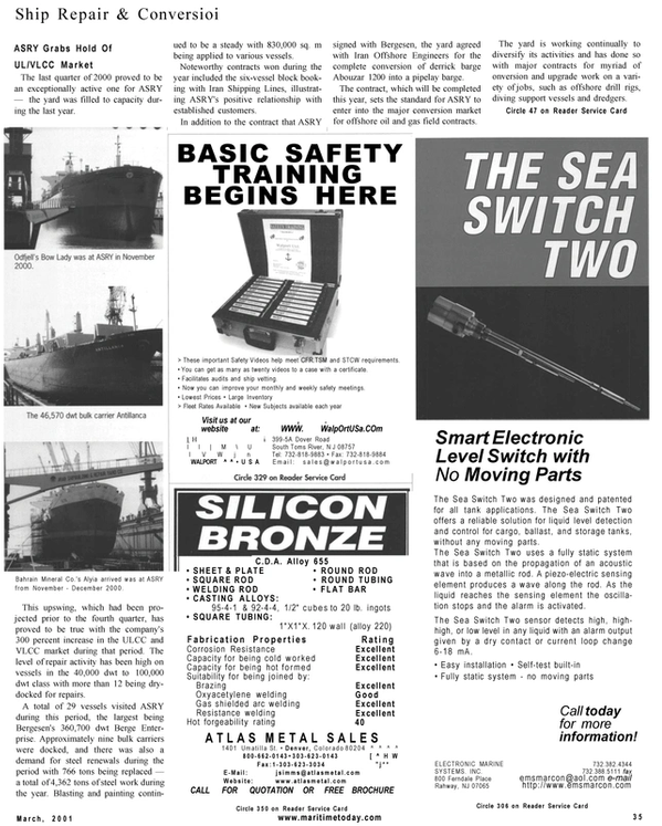 Maritime Reporter Magazine, page 35,  Mar 2001 oil and gas field contracts