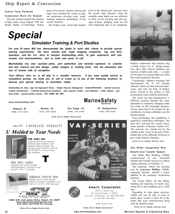Maritime Reporter Magazine, page 38,  Mar 2001