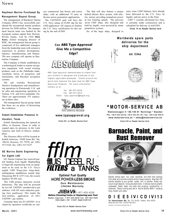 Maritime Reporter Magazine, page 39,  Mar 2001