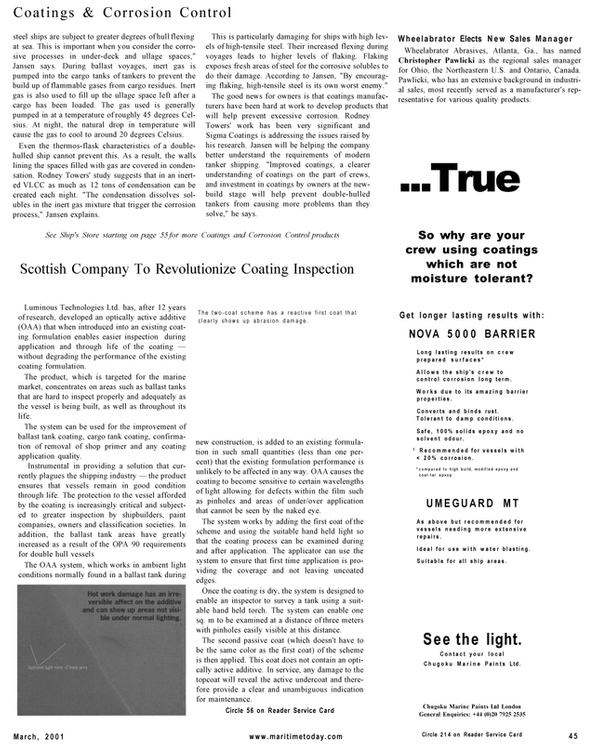 Maritime Reporter Magazine, page 45,  Mar 2001