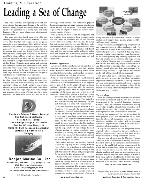 Maritime Reporter Magazine, page 46,  Mar 2001 Virtual Maritime Academy