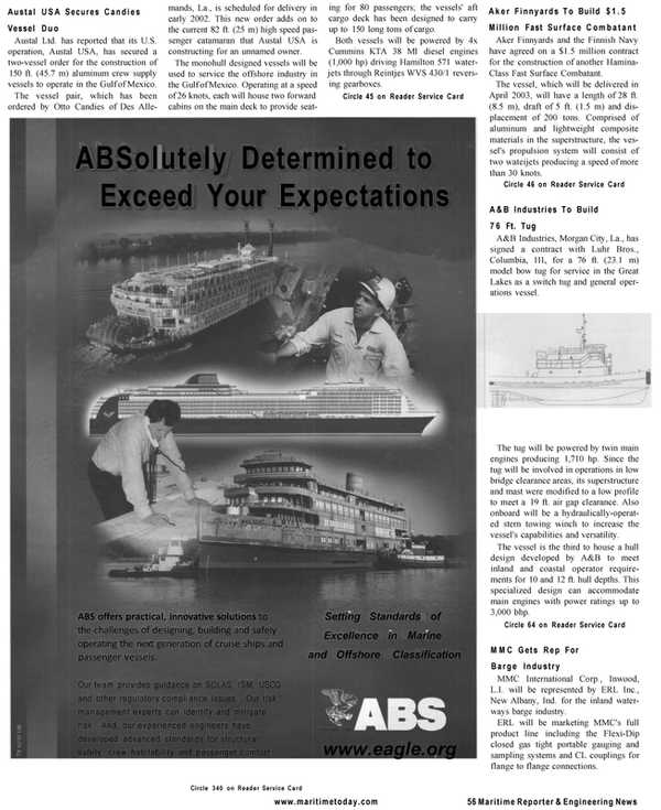 Maritime Reporter Magazine, page 54,  Mar 2001
