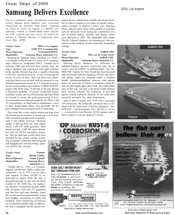 Maritime Reporter Magazine, page 58,  Mar 2001