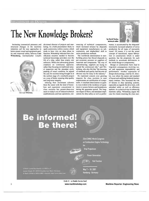 Maritime Reporter Magazine, page 8,  Apr 2001 David Tinsley