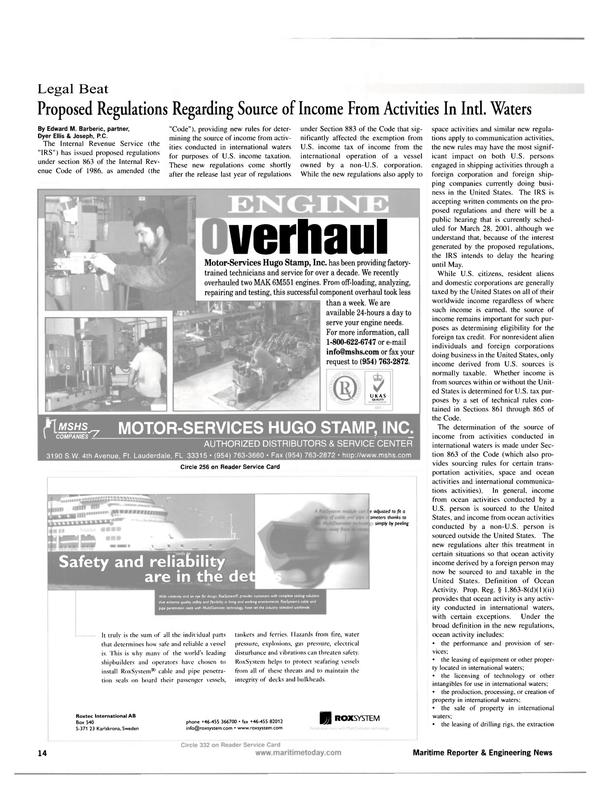 Maritime Reporter Magazine, page 14,  Apr 2001 Dyer Ellis