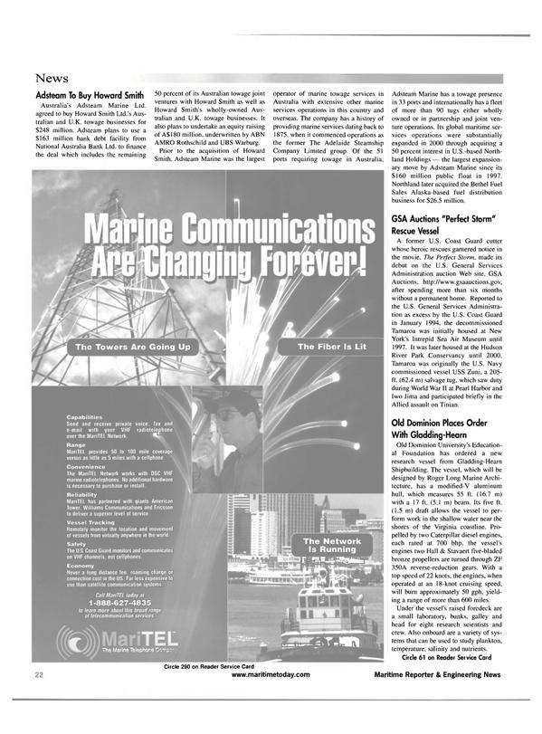 Maritime Reporter Magazine, page 22,  Apr 2001 Hudson River Park Conservancy