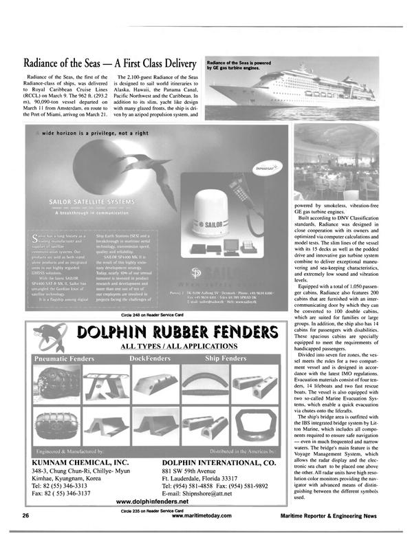 Maritime Reporter Magazine, page 26,  Apr 2001 Caribbean