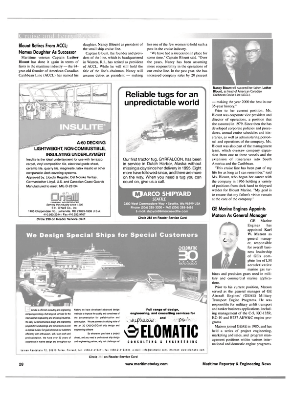Maritime Reporter Magazine, page 28,  Apr 2001 Maryland