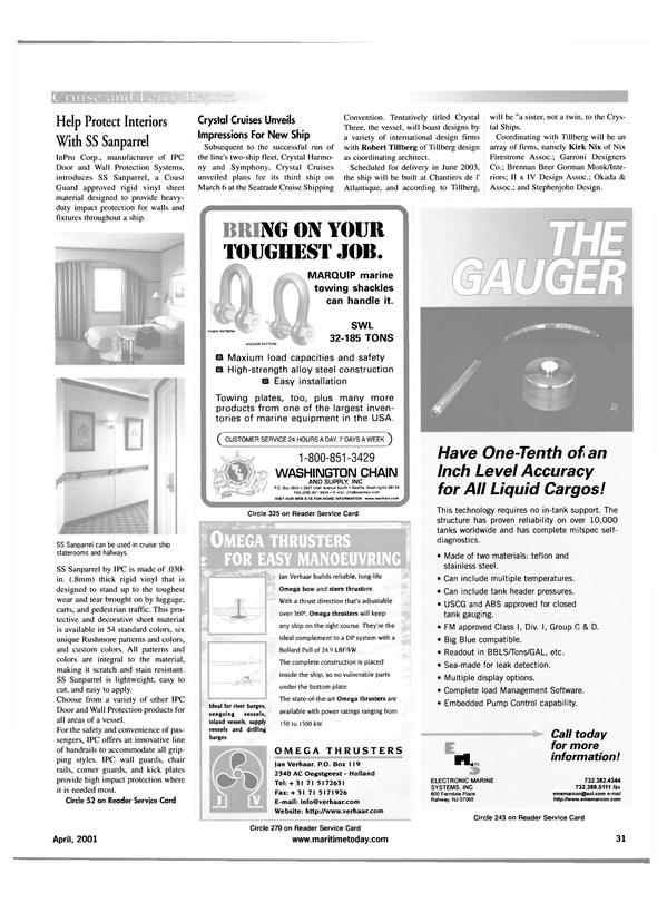Maritime Reporter Magazine, page 31,  Apr 2001 Jan Verhaar