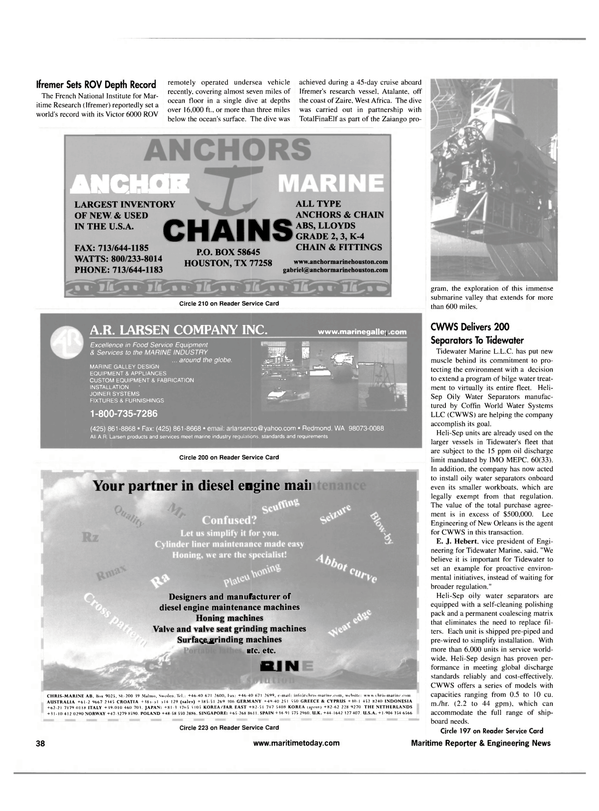 Maritime Reporter Magazine, page 38,  Apr 2001 French National Institute
