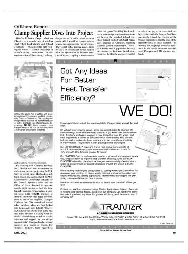 Maritime Reporter Magazine, page 49,  Apr 2001 United States Navy