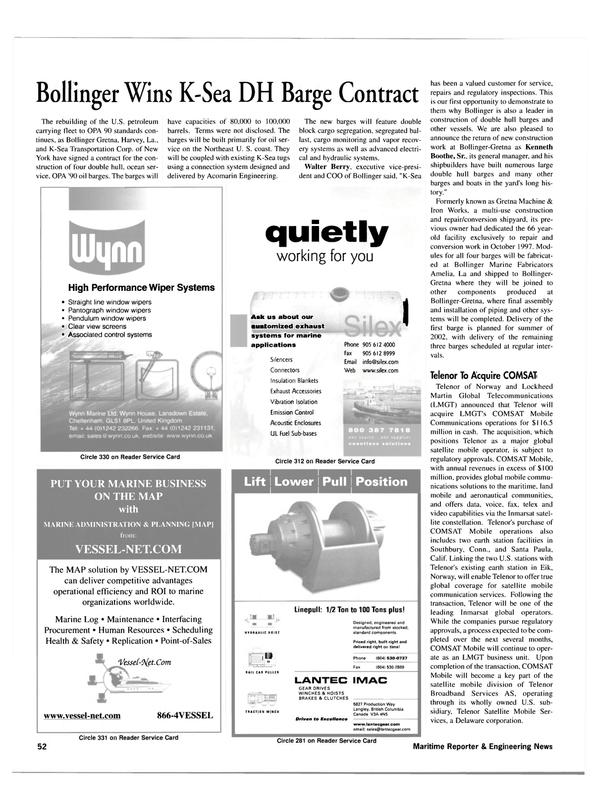 Maritime Reporter Magazine, page 52,  Apr 2001 California