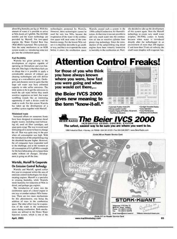 Maritime Reporter Magazine, page 65,  Apr 2001 Marioff technology