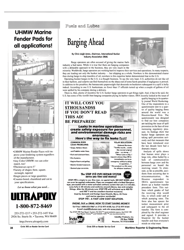 Maritime Reporter Magazine, page 38,  May 2001