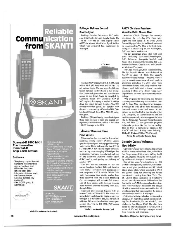 Maritime Reporter Magazine, page 60,  May 2001 Hawaii