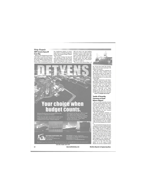 Maritime Reporter Magazine, page 12,  Jun 2001 David Enman